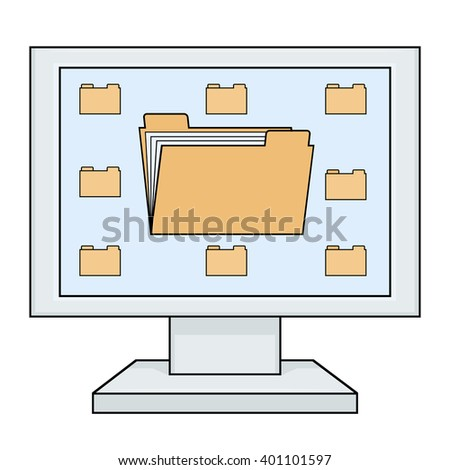 Computer with folders - stock vector