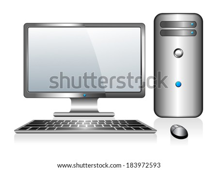 Computer with Monitor Keyboard and Mouse - stock vector