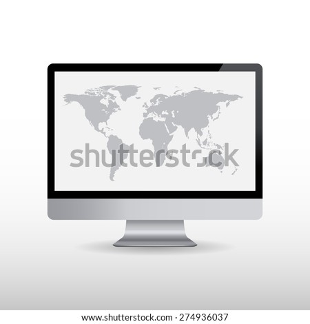 Computer with world map on screen. Vector illustration - stock vector