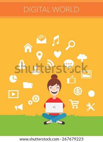 Computers and communication concept vector - stock vector