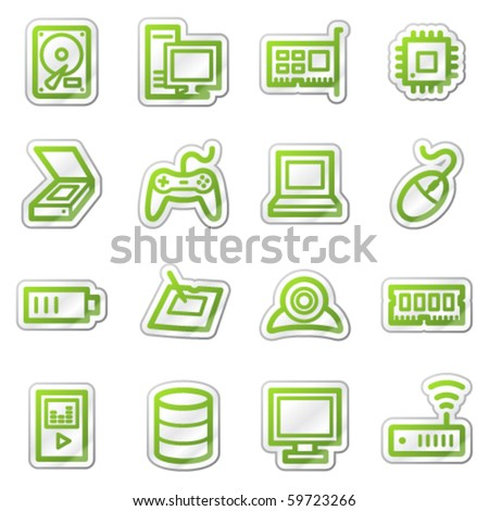 Computers and electronics web icons set 2, green sticker series - stock vector