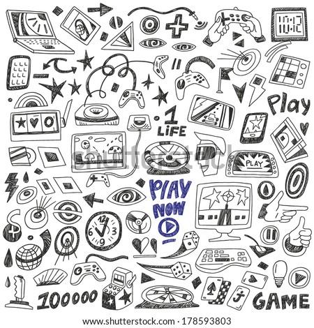 computers games - doodles set vector - stock vector
