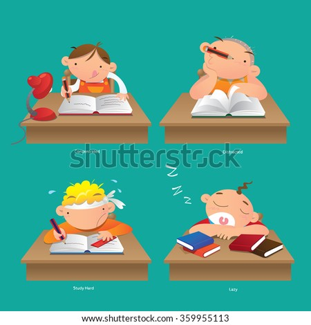 Concentrated, Distracted, Study hard and Lazy - stock vector