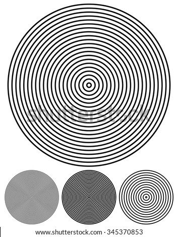 Concentric circle elements. Set of 4 version. Vector. - stock vector