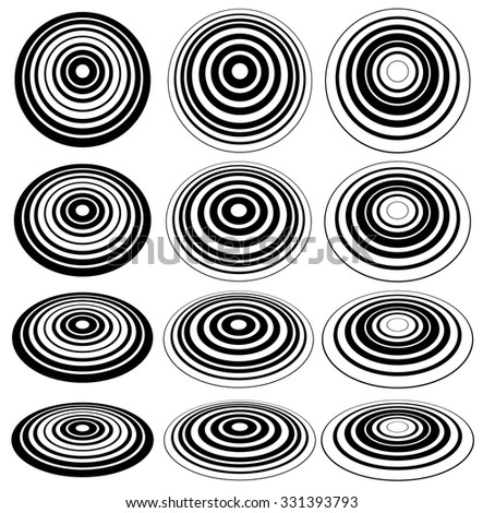 Concentric circles abstract elements. 3d circles with perspective - stock vector