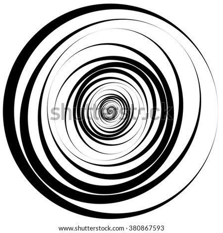 Concentric - converging random circles. abstract vortex, spiral - stock vector