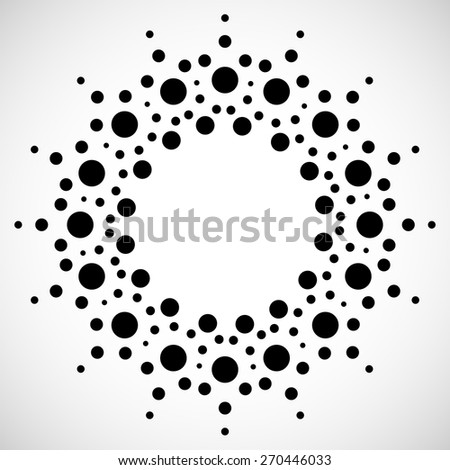 Concentric Dots, Circles. Dotted Abstract Element, Abstract Pattern on White - stock vector