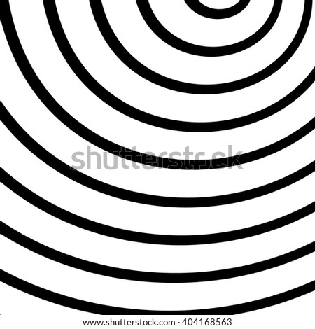 Concentric, radiating circles, rings. Radial abstract element - stock vector