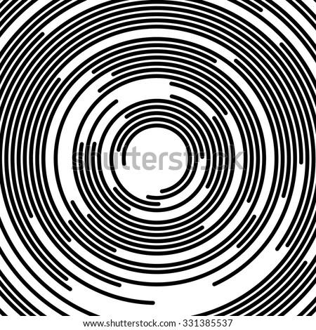 Concentric segments of circles, random lines following a circle path. - stock vector