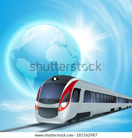 Concept background with high-speed train, the globe and sun. EPS10 vector. - stock vector