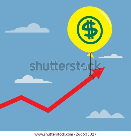 Concept balloons dollar sign to pulled up the graph - stock vector