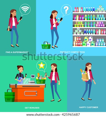 Concept banner for Shop. Vector character people in supermarket, cart, delivery, family shopping. Healthy eating and eco food - stock vector