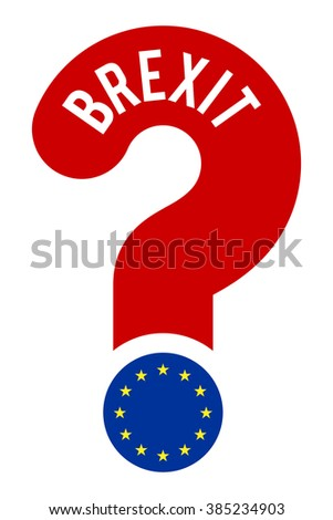 concept BREXIT, question mark with text BREXIT and flag EU as dot, referendum 2017 concept, vector illustration - stock vector