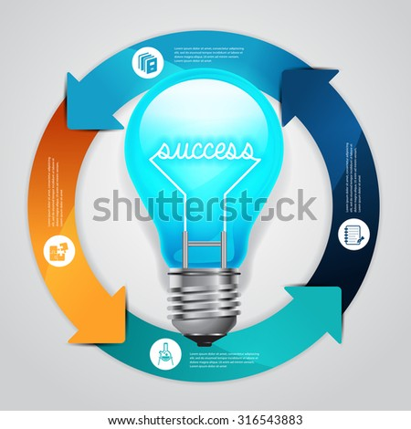 Concept business and education success light bulb infographics design template. - stock vector