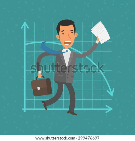 Concept businessman and collapse - stock vector