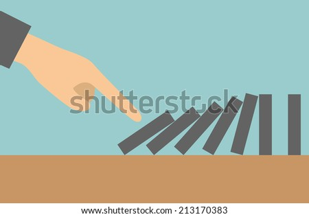 Concept businessman hand pushing the domino effect - stock vector