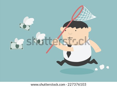 Concept businessman trying to catch money fly - stock vector