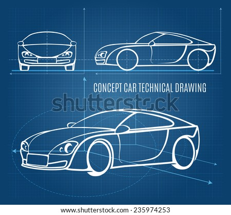 Concept car technical drawing showing front  side and offside orientations in a line drawing format on a blue background  vector illustration - stock vector