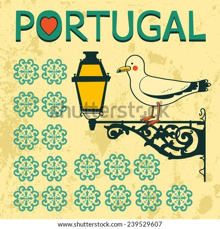 Concept card with tipical portuguese lantern and seagull. Vector illustration - stock vector