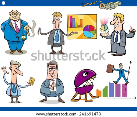 Concept Cartoon Vector Illustration Set of Funny Men or Businessmen Characters and Business Metaphors - stock vector