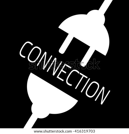 Concept connection or disconnection electricity. White power plug on black background. - stock vector