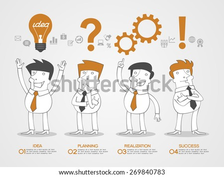 Concept design business idea, planning, realization and success. Business infographic background. Scribble people surrounded by business icons, text, numbers.  - stock vector