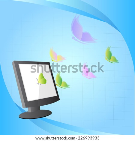 concept design, butterfly flying out from computer - stock vector