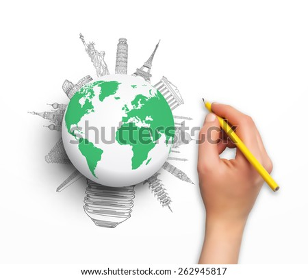 Concept design - hand with pencil world map and sketch of famous monument in vector format - stock vector