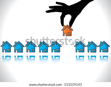 Concept Design Vector illustration of Home or House Buying: A Hand Silhouette offering red colored house to a buyer who is choosing his dream home - stock vector