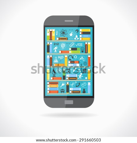 Concept education. Telephone with books on screen surrounded by scientific icons. The concept of e-learning. The idea of education in the Internet. This illustration contains transparency - stock vector