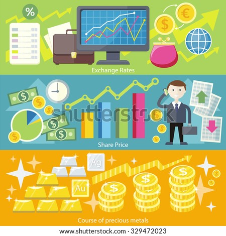 Concept exchange rates flat design style. Finance business, currency and investment, money banking, dollar coin, economy and bank, stock financial, trade market, gold and silver illustration - stock vector