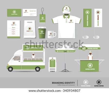 concept for coffee shop and restaurant branding identity mock up template. card .menu.t-shirt.car.umbrella.vector.corporate branding.green - stock vector