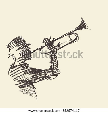 Concept for jazz poster. Man playing the trumpet. Vintage hand drawn illustration, sketch.  - stock vector
