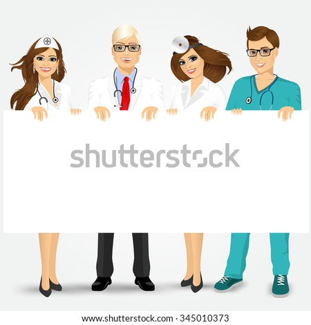 Concept for medical workers. Group of doctors and nurses holding a blank billboard - stock vector