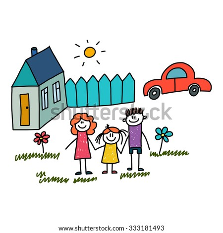 Concept for mortgage, insurance, car loan, consumer credit, social protection and insurance. Vector picture of happy and healthy family. House, red car and little garden with summer flowers. - stock vector