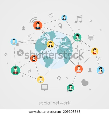 Concept for social network. Concepts for web banners and printed materials. - stock vector