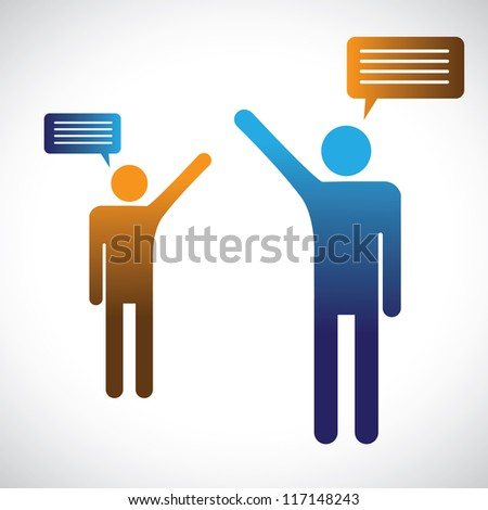 Concept graphic of people talking, speaking or chatting. The illustration shows two people symbols with chat icons speaking with each other - stock vector