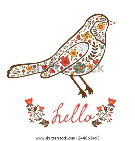 Concept hello card with floral decorative bird. vector illustration - stock vector