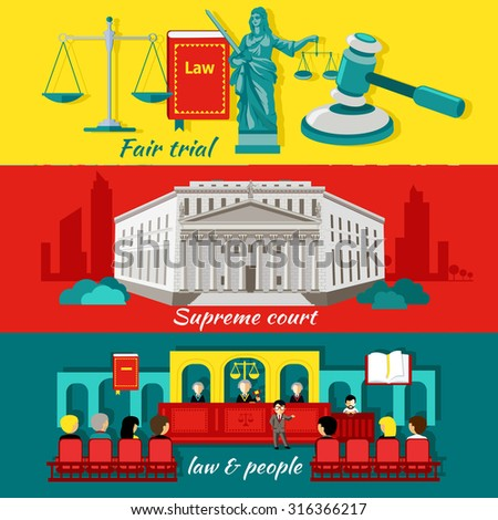 Concept high court and justice. Fair trial, law and people, justice and judgment,litigation and  jurisdiction, courthouse and legislation, prosecution and barrister, tribunal verdict illustration - stock vector