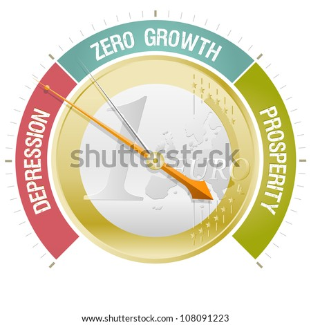 Concept illustrating the European crisis with a barometer indicating depression. EPS 10 file with no use of transparencies or filter effects like drop shadow: only solid fills and basic gradients used - stock vector