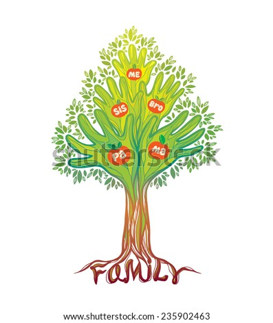Concept illustration- family tree. Abstract green hand tree. - stock vector
