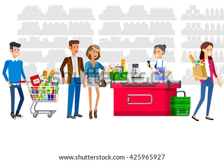 Concept illustration for Shop, supermarket. Vector character woman cashier in supermarket. Healthy eating and eco food in supermarket. Vector cash register and buyer in a supermarket - stock vector
