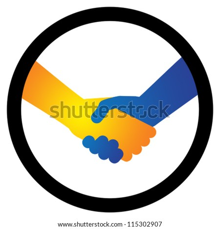 Concept illustration of hand shake between two people in orange/yellow and blue colors. The handshake represents the concept of agreement in business, greeting gesture or friendship - stock vector