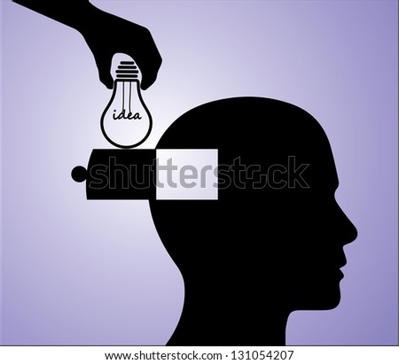 Concept Illustration of Sharing Idea or Solution or Innovation: A Hand Silhouette inserting a light bulb with an idea text into a man's head - stock vector