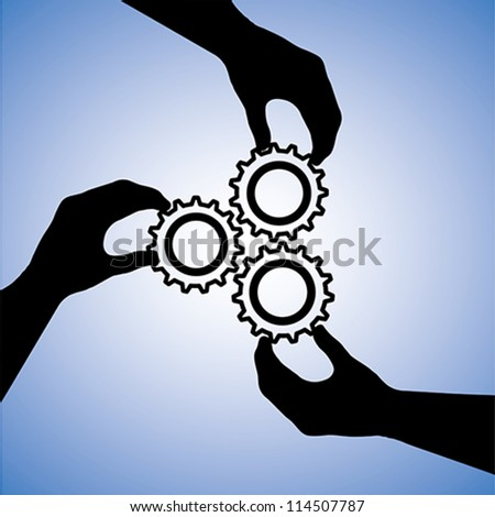 Concept illustration of teamwork and people co-operating for team success. The graphic includes hand silhouettes holding cogwheels together indicating collaboration and joining hands for success - stock vector