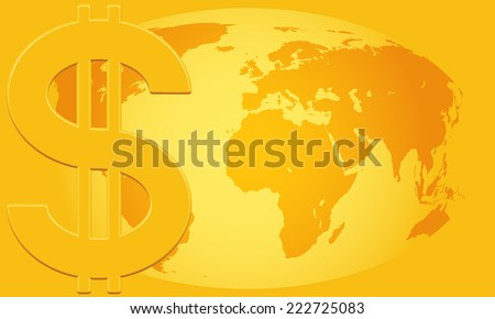 Concept illustration of the US Dollar symbol and Globe.  - stock vector
