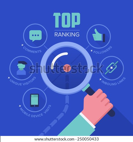 Concept illustration of tracking and analyzing website ranking, popularity growth, unique visitors, inbound links, number of followers and comments. SEO and digital marketing concept - stock vector