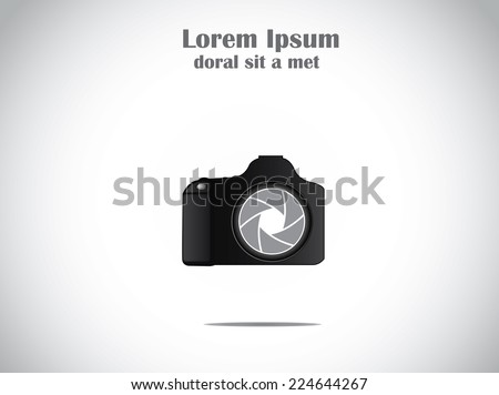 Concept Illustration of trendy minimalistic SLR Camera with colorful shutter icon symbol - stock vector