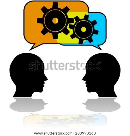 Concept illustration showing a couple of people talking with gears getting in motion - stock vector