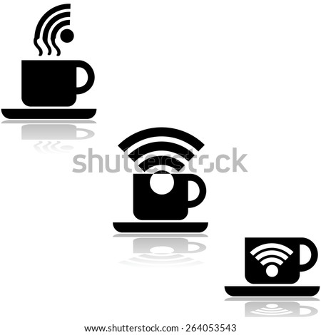Concept illustration showing a cup of coffee paired with a wifi symbol - stock vector